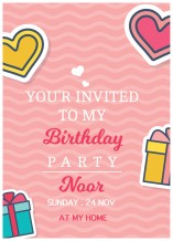 Birthday Invitation Card - 25 cards & Envelops - BC515 English