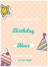 Birthday Invitation Card - 25 cards & Envelops - BC516 English