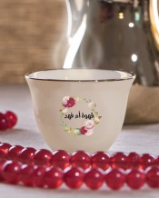 Flowers Circle Design 6 Arabic Coffee Mugs