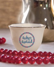Blue Circle Design 6 Arabic Coffee Mugs