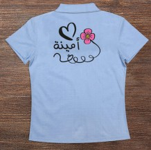 Woman's Polo T-Shirt Design ( Heart & Flower )