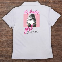 Woman's Polo T-Shirt Design ( Beautiful Girl )