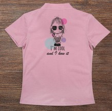 Woman's Polo T-Shirt Design ( Cool Girl )