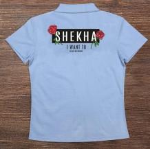 Woman's Polo T-Shirt Design ( Flowers & Sentence )