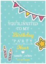 دعوة عيد ميلاد - 25 كرت و ظرف - BC517 إنجليزي