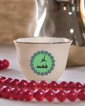 6 فناجين قهوة عربية تصميم دائرة خضراء