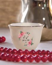 6 فناجين قهوة عربية تصميم زهور وردي
