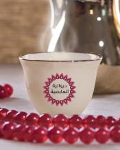 6 فناجين قهوة عربية تصميم دائرة حمراء