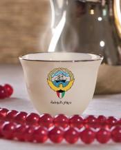 6 فناجين قهوة عربية تصميم شعار دولة الكويت