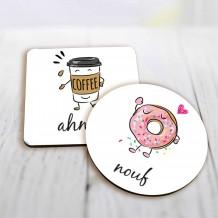 قاعدتان للكوب تصميم دونت و قهوة