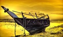 غروب الشمس الذهبي