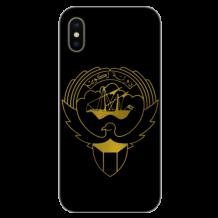 غطاء أسود للهاتف مع تصميم ذهبى مخصص لشعار دولة الكويت