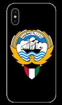 غطاء أسود للهاتف مع تصميم مخصص لشعار دولة الكويت
