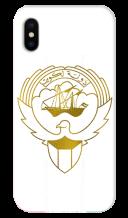 غطاء ذهبى للهاتف مع تصميم مخصص لشعار دولة الكويت