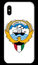 غطاء أبيض للهاتف مع تصميم مخصص لشعار دولة الكويت