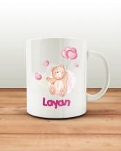 كوب تصميم الدب الوردي مع قاعدة