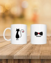 كوب ثنائي تصميم قطة و ربطة