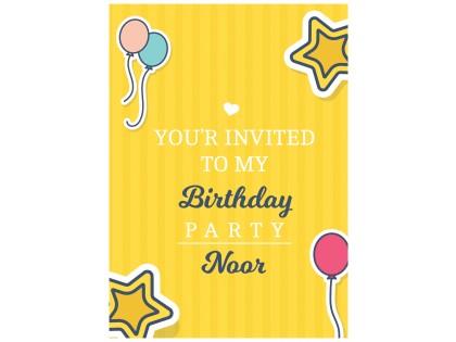 دعوة عيد ميلاد 25 كرت و ظرف Bc514 إنجليزي