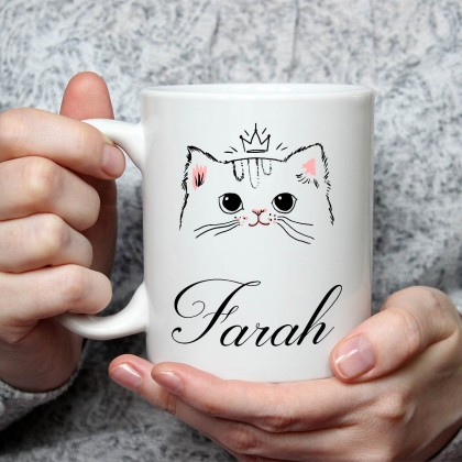 الاسم على كوب (تصميم قطة) - MU025