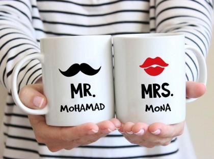 الاسماء على كوبين (تصميم السيد و السيدة) - MU022